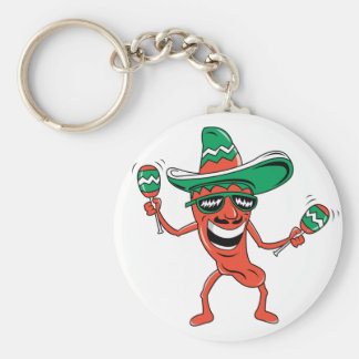 Dancing Chili Pepper Basic Round Button Key Ring