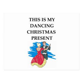 dancing christmas present postcard