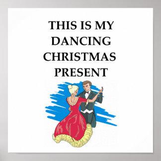 dancing christmas present poster
