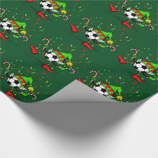 Dancing Christmas Soccer Elf Wrapping Paper