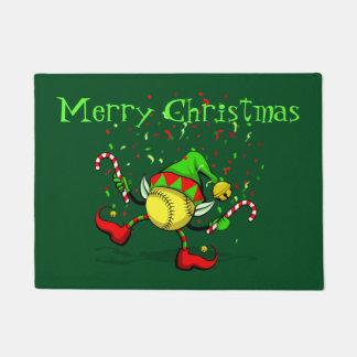 Dancing Christmas Sooftball Elf Doormat