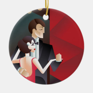 Dancing couple Art Deco geometric style poster Round Ceramic Decoration