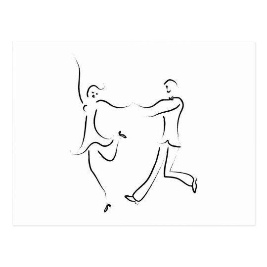 Dancing Couple Sketch Postcard