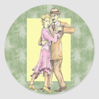 Dancing Couple Round Stickers