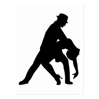 Dancing couple tango postcard