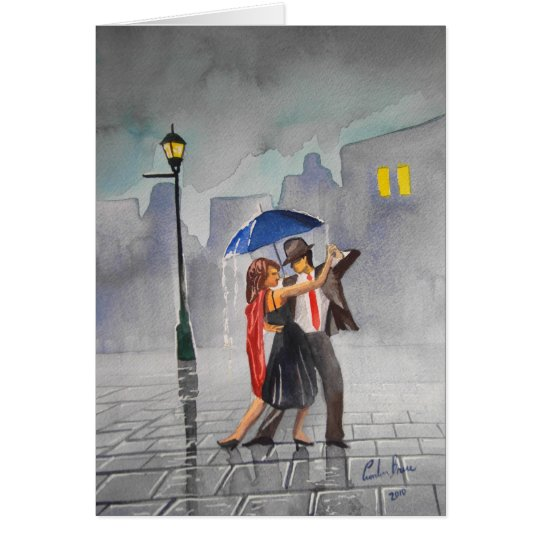 DANCING COUPLE UMBRELLA GREETING CARD