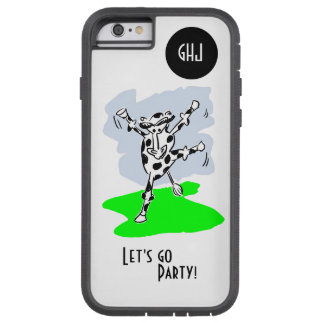 Dancing cow cartoon colour monogram let's go party tough xtreme iPhone 6 case