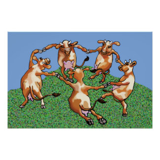 Dancing cows by Mootisse Poster