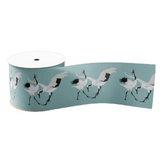 Dancing Cranes Grosgrain Ribbon