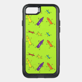 dancing crayons on green phone case