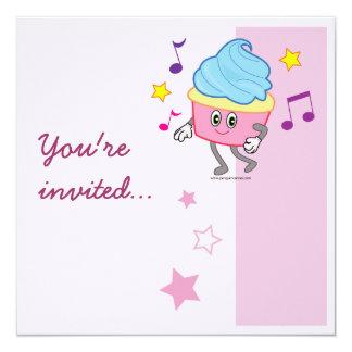 Dancing Cupcake Birthday Invite