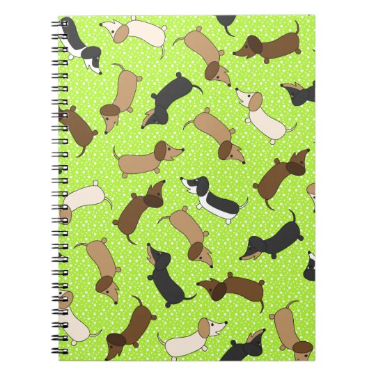 Dancing Dachshunds (Lime Green) Notebooks