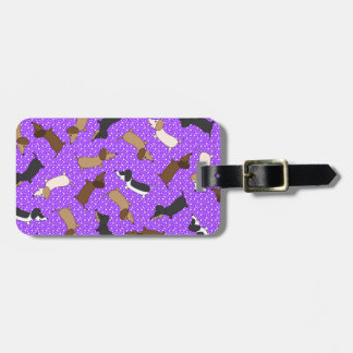 Dancing Dachshunds (Purple) Luggage Tag