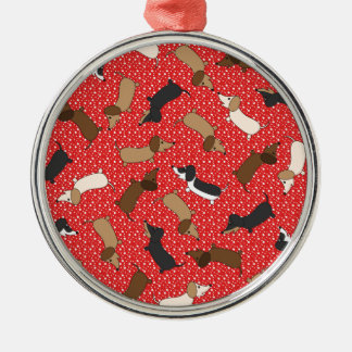 Dancing Dachshunds (Red) Christmas Ornament