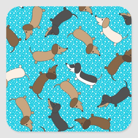 Dancing Dachshunds (Teal) Square Sticker