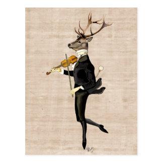 Dancing Deer with Violin 2 Postcard