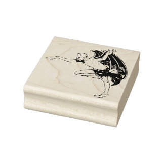 Dancing demon illustration art stamp