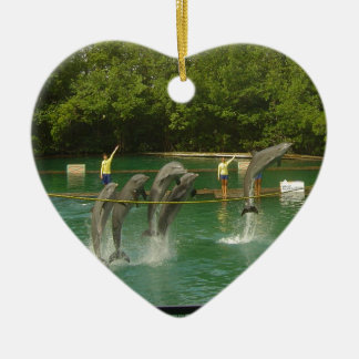 Dancing Dolphins in Miami Ceramic Heart Decoration