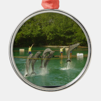 Dancing Dolphins in Miami Silver-Colored Round Decoration