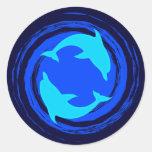 Dancing Dolphins Spiral Round Sticker