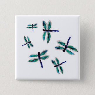 Dancing Dragonfly Art 15 Cm Square Badge