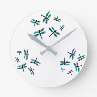 Dancing Dragonfly Art Round Clock