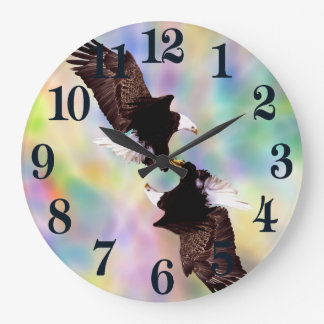 Dancing eagles large clock