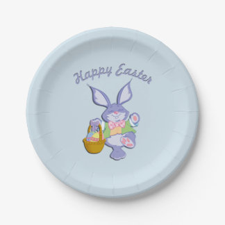 Dancing Easter Bunny Blue 7 Inch Paper Plate
