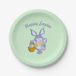 Dancing Easter Bunny Green 7 Inch Paper Plate