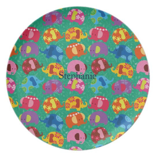 dancing elephant plate personalise