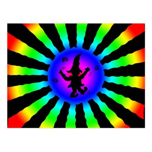 Dancing Elf in Rainbow Sun Rays - Postcard