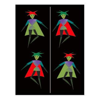 Dancing elves bookmark postcard