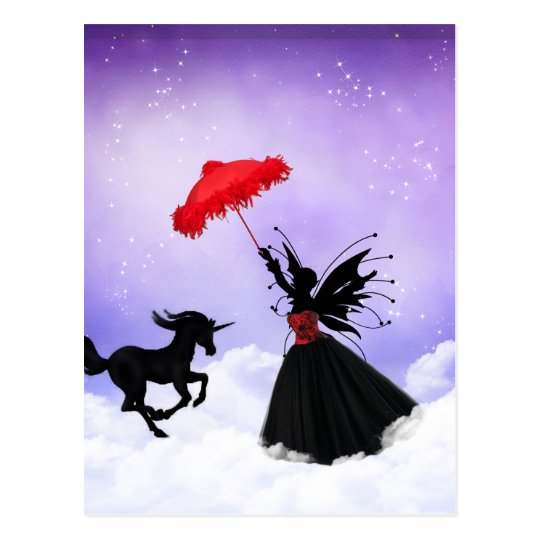 dancing fairy with unicorn postcard