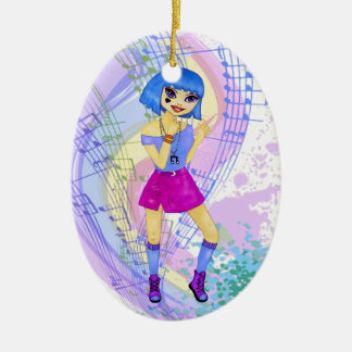 Dancing fashion illustration with bright blue hair christmas ornament
