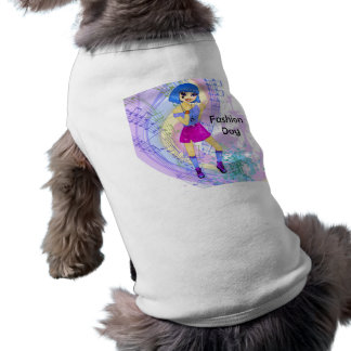 Dancing fashion illustration with bright blue hair sleeveless dog shirt
