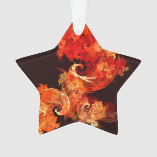Dancing Firebirds Abstract Art Acrylic Star Ornament