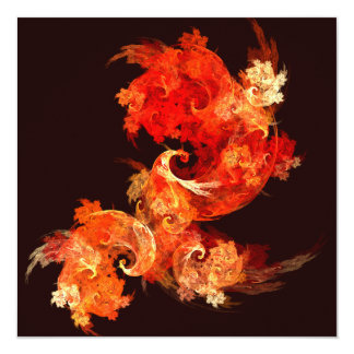 Dancing Firebirds Abstract Art 5.25x5.25 Square Paper Invitation Card