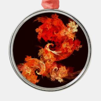 Dancing Firebirds Abstract Art Round Christmas Ornament