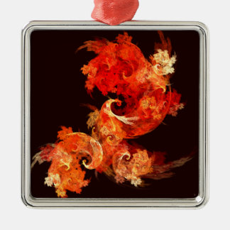 Dancing Firebirds Abstract Art Square Christmas Ornament