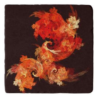 Dancing Firebirds Abstract Art Stone Trivets