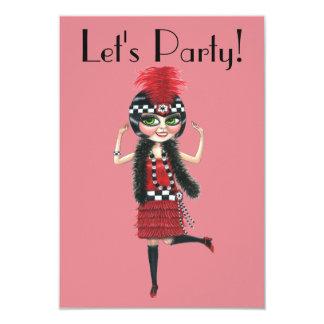 Dancing Flapper Girl Roaring Twenties 9 Cm X 13 Cm Invitation Card