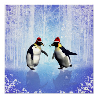 Dancing for christmas, funny penguine