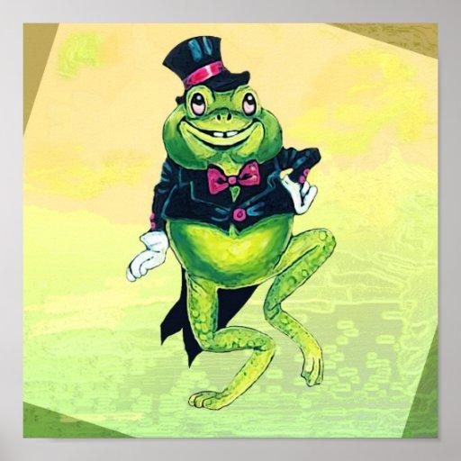 Dancing Frog Green Tuxedo Cute Poster