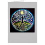 Dancing Full Moon Tree of Life Mandala Card