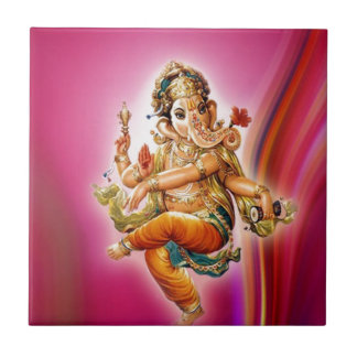 Dancing Ganesha Small Square Tile