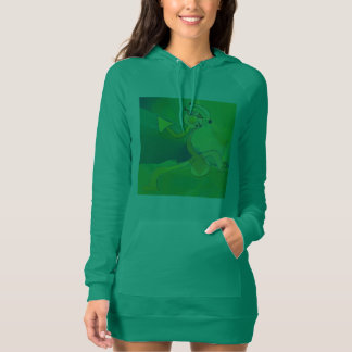 Dancing Gardener Art Design Hoodie Dress Green
