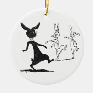Dancing Ghostly Rabbits Vintage Louis Wain Christmas Ornament