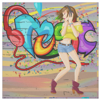 Dancing Girl 2 Music Graffiti Wall Fabric