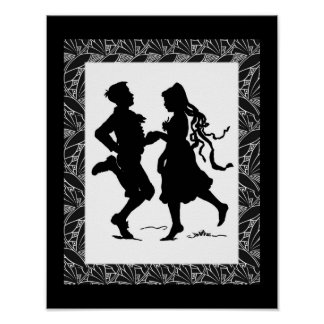 Dancing Girl And Boy Silhouette Art Poster