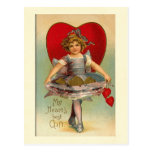 Dancing Girl Heart Valentine Post Card